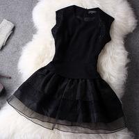 2014 New Elegant Ladies's One-piece Black Lace Puff Mini Dress 2014 Spring autumn Girls's Cute Basic Organza Dress