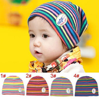 Child hat stripe double layer thickening pocket baby knitted hat knitted hat
