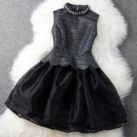 New 2014 Spring Autumn Organza Basic dress Women's Spring Autumn Slim Puff Mini Dress Vintage European Style Princess Dress