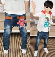 2015 Autumn Children Jeans Boys Wing Design Jeans Long Pant Kids Clothes Free Shipping 5 PCS