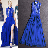 2014 summer fashion sleeveless vest one-piece dress full dress placketing lace bride dress skirt