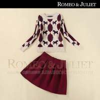 2014 spring women's jacquard knitted long-sleeve sweater half-skirt twinset