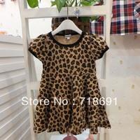 In Stock! Girls Summer Dress, Children leopard beach one-piece short-sleeve for little girls 6pcs/lot