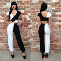 spell color black and white stitching long sleeve backless bandage pants lady bodycon jumpsuit Clubwear Dresses Party women K014