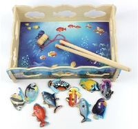creative educational intelligence magnetic fishing game wooden puzzle toys wood fish toy children gift