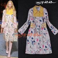 2013 fashion autumn and winter women flowers print pattern turn-down collar wool coat outerwear
