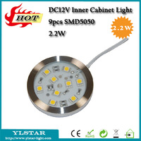 New 2014 DC12V 2.2W 9pcs SMD5050 150lm round led cabinet light for kicthen decoration, AL+PMMA Warm/Cool White, 2 years warranty
