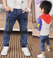 2014 Spring Children Jeans Boys Personalized Zipper Design Jeans Long Pant Kids Clothes Free Shipping 5 PCS