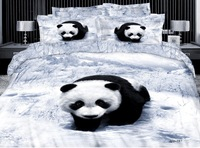 New Beautiful 100% Cotton 4pc Doona Duvet QUILT Cover Set bedding set Full / Queen / King size 4pcs animal panda whit black