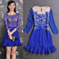 2014 spring fashion eyelash lace patchwork one-piece dress slim ruffle evening dress
