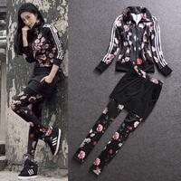 2014 spring flower fashion sports casual set female culottes