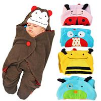 Brand new baby stroller baby blankets baby sleeping bag cartoon sleeping bag Towel lovely animal 4 colors