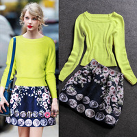 2014 women's spring rabbit wool knitted sweater twinset dress top print bust skirt