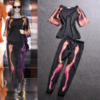2014 women's fashion print casual set short-sleeve T-shirt harem pants
