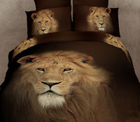 New Beautiful 100% Cotton 4pc Doona Duvet QUILT Cover Set bedding set Full / Queen / King size 4pcs animal lion head