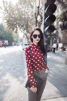 2014 New Hot,women fashion short sleeve heart printed summer shirts,ladies fashion long sleeve Top Blouse,S,M,L