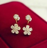 Free shopping New arrival zircon small flower stud earring sweet zirconium diamond earrings accessories