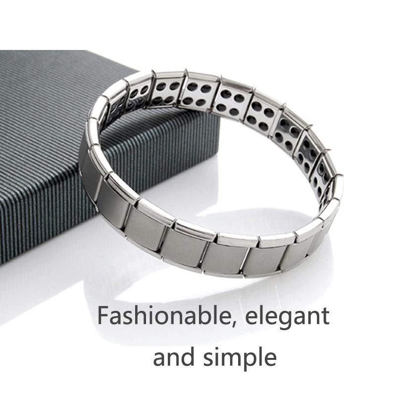 Men titanium bracelet energy bracelet 80 trace elements germanium stone Magnetic health jewelry, two / more Free Shipping(China (Mainland))