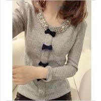 Order bead bowknot bubble sleeve unlined upper garment of wool knitted sweater jacket 3 color