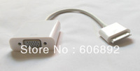 Free Shipping 2pcs/lot New Dock Connector 30 pin To VGA Adapter Connection Cable For iPad 2 3 iPhone 4 White