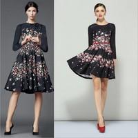 Spring Summer New 2014 Vintage European Runway Dresses Flower Digital Printing Catwalk Dress Ladies Knee Length Dress