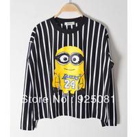 Good Quality 2014 New Spring Women Fashion T-shirt Minions Cartoon Print Womans Stripe Casual Girls Long-sleeve Cotton Tops 506
