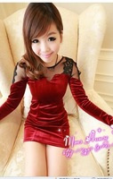 0015 autumn and winter lace gauze patchwork gold velvet long-sleeve sexy slim one-piece dress
