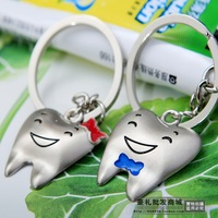 (Min order$10) Free Shipping! Cute cartoon Couple key chain key chain gift key ring tooth teeth model key ring chain #K-24