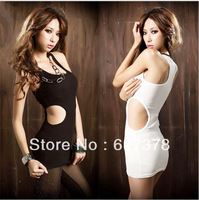 South Korea sexy slim rib midriff I-beam nightclub sexy vest bag hip dress color black and white