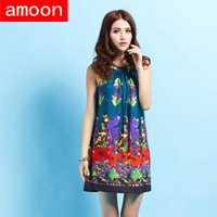 Amoon / Women New Spring Summer Sexy Casual Ice Cotton Print Dress 0189/Free Shipping /Plus Size /Green Colors /Sleeveless