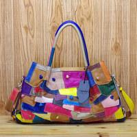 New 2014 unique colorant match fashion multi-colored handbag women's genuine cowhide leather big messenger handbag
