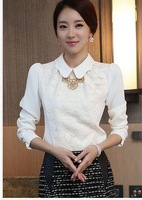 2014 women office lady Fashion Elegant white Lace Embroidered long sleeve chiffon blouse Tops shirt S/M/L/XL,X766