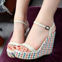 free shipping Elegant 2014 women's sweet straw braid wedges platform open toe sandals belt