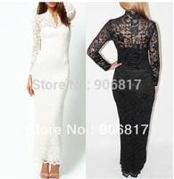 Fashion Ladies' Sexy V-Neck Slim Lace Women Maxi Dress Long Sleeve Evening Dress Lace Bodycon Dress + Free Shipping
