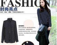 Wholesale novelty Wave point chiffon lapel long-sleeved women shirt/ladies novelty blouse
