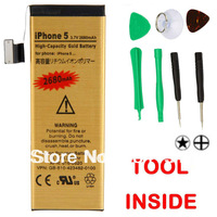 Free shipping 2680mAh Replacement High-Capacity Gold Battery for iPhone 5 + 7pcs repair tools