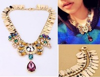 2014 fashion Unique Romantic Crystal pendant bubble bib chunky choker Necklace statement women jewelry