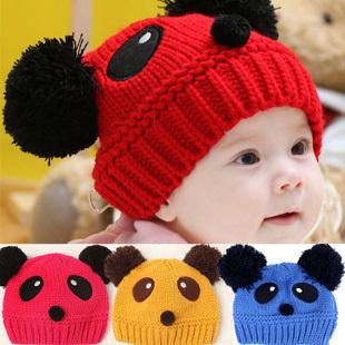Panda hat newborn baby handmade knitted hat male female child thermal knitted hat(China (Mainland))