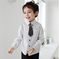 2013 children's clothing spring and autumn male child baby fashion preppy style stripe tie shirt child formal dress