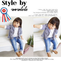 2013 children's clothing spring and autumn baby boy child fresh british style blue and white plaid long-sleeve shirt