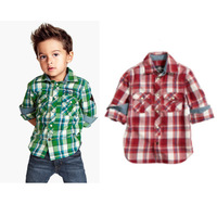 Children's clothing 220488 handsome male child plaid shirt denim set clothing jeans 45 5