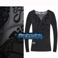 free shipping woman Sixty gauze flock printing letter satin button slim basic shirt t-shirt 1087