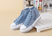 2014 spring new arrival women canvas shoes jeans canvas platform women sneakers outside shoes