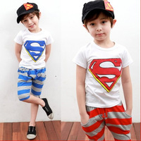 2014 new arrival free shipping children boys superman clothing set boys summer clothing t shirt + stripe pants Kids clothes set