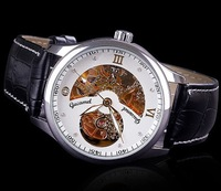 Free Shipping 2014 New Men Automatic Mechanical Watches  Diamond Leather Watch