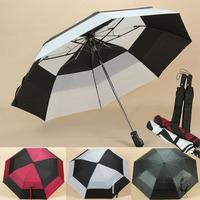 Vinyl automatic umbrella large double layer windproof umbrella folding golf umbrella commercial umbrella