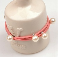 (Our min Order Amount is USD15 ,Can mix order)Free shipping candy pearl big hair ties for child
