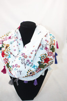 Scarf Wraps Shawl Stole cotton white w/flower BKW and Soft
