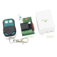 AC 220V single-channel wireless remote control switch + metal two-button remote control (lock latch button) + White Case