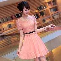 Chiffon one-piece dress 2014 Spring and Summer women's Slim Plus size female elegant short-sleeve lace Dress Black Pink Beige